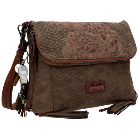 KD SHOULDER BAG W/FLAP BROWN - TATSUMI