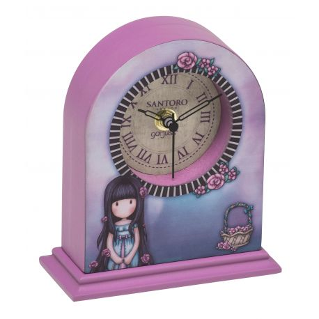 WOODEN CLOCK DECORATION ROSEBUD