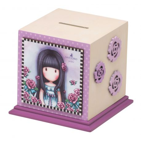 WOODEN MONEY BOX ROSEBUD