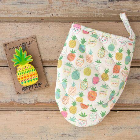 Oven Mitt & Clip Pineapple