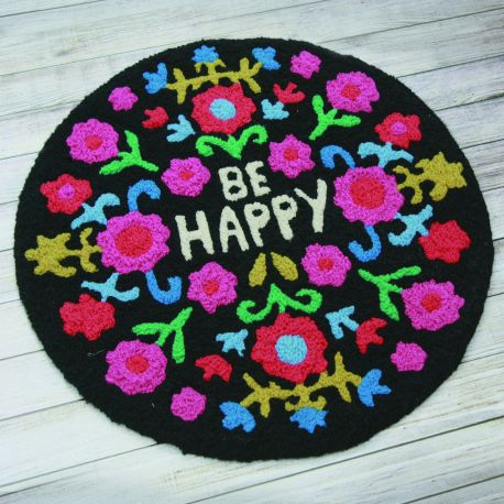 Round Rug Be Happy