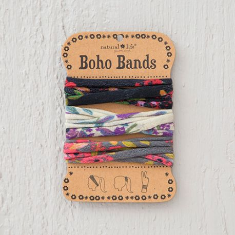 Boho Bands Blooms Black Cream Charc