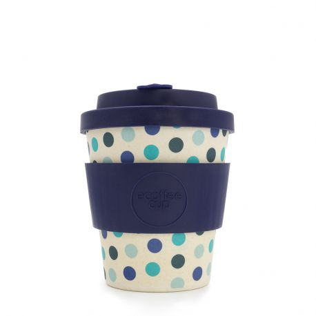 Bamboo Cup with Lid Blue Polka