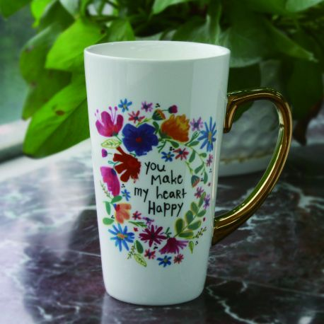 latte mug with gold handle-Just Be Happy