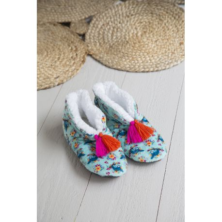 Cozy Slipper L Aqua Sloth