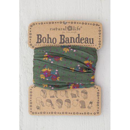 Boho Bandeau Olive Magenta Floral