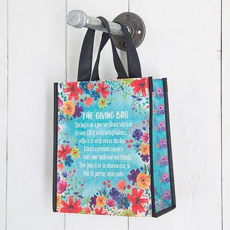 Gift Bag M Giving Bag Blue Floral