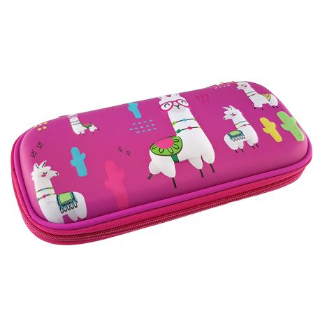 3 Eva Square Pencil Case Llama Fuchsia