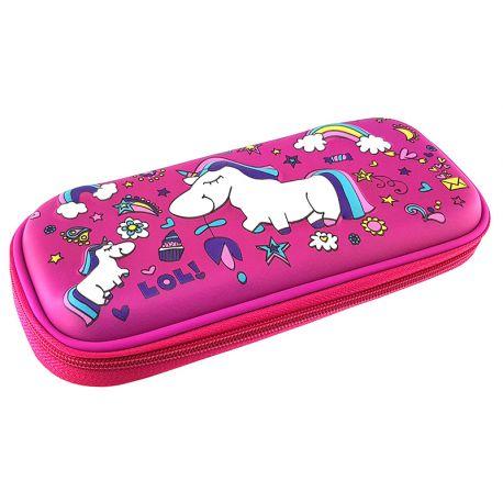 3 Eva Square Pencil Case Unicorn Fuchsia