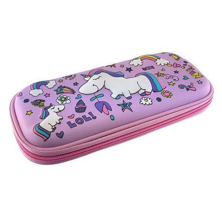 3 Eva Square Pencil Case Unicorn Lila
