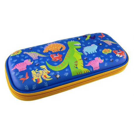 3 Eva Square Pencil Case Dinosaur Blue