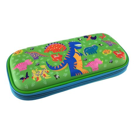 3 Eva Square Pencil Case Dinosaur Green