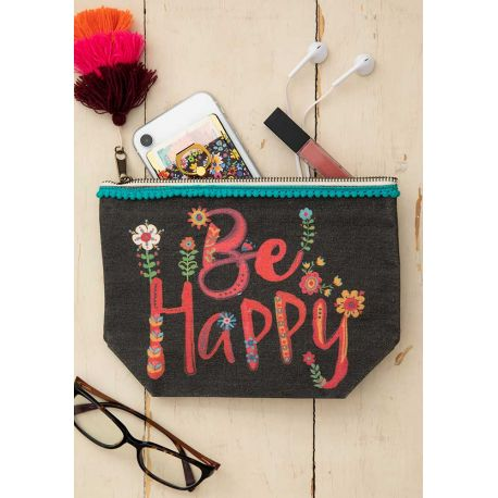 Canvas Pouch Be Happy Black