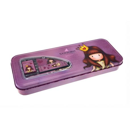 Metal Pencil case (2 pencils, eraser, sharpener, ruler) Princess