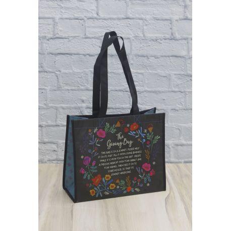 Giving Bag L Black Floral Wreath