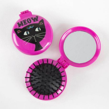 Compact Brush Mirror Meow