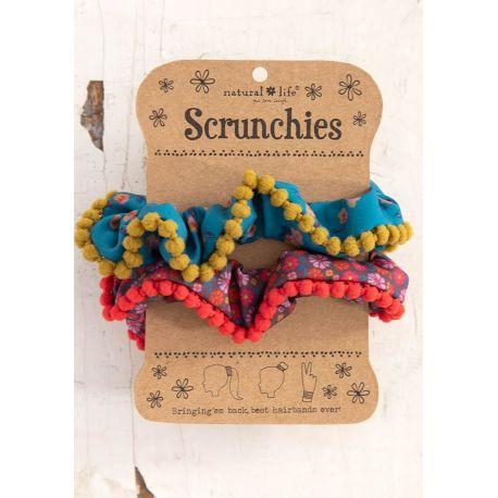 Pom Pom Scrunchie Pink Ditsy/Blue