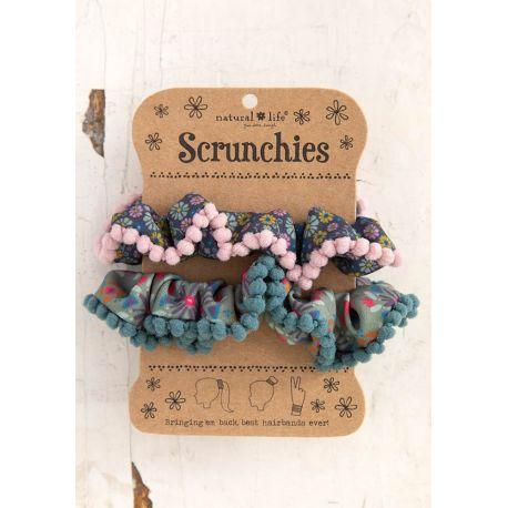 Pom Pom Scrunchie Blue Ditsy/Sage