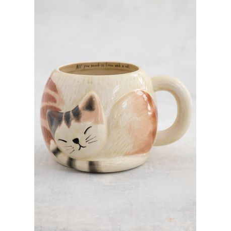 Sleeping Cat Folk Mug