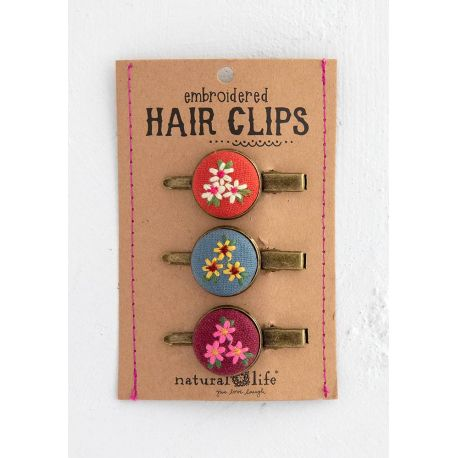 Embroidered Hair Clip Set Pink