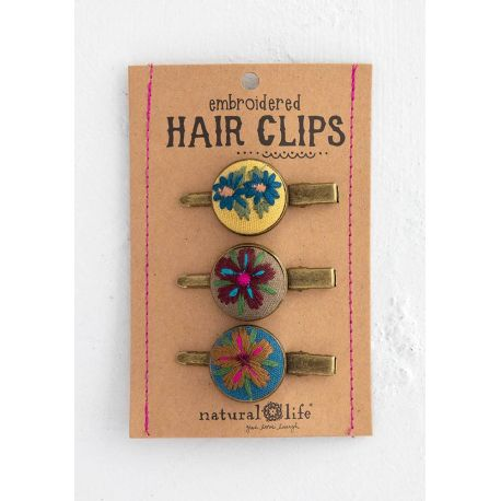 Embroidered Hair Clip Set Yel