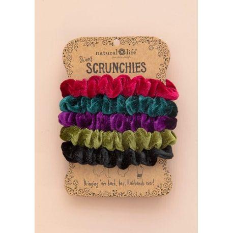 Velvet Scrunchies S/5 Jewel Tones