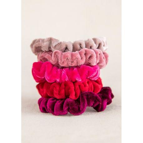 Velvet Scrunchies S/5 Red/Pink