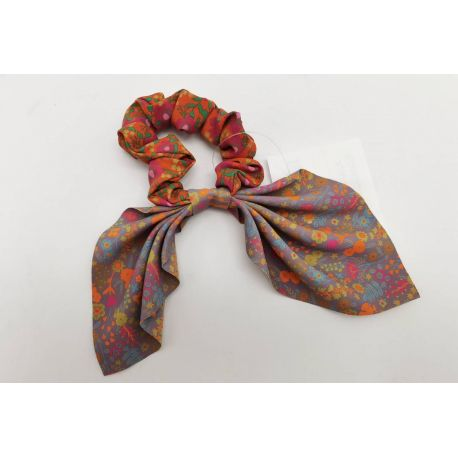 Mixed Print Tie Scrunchie Org/Purp