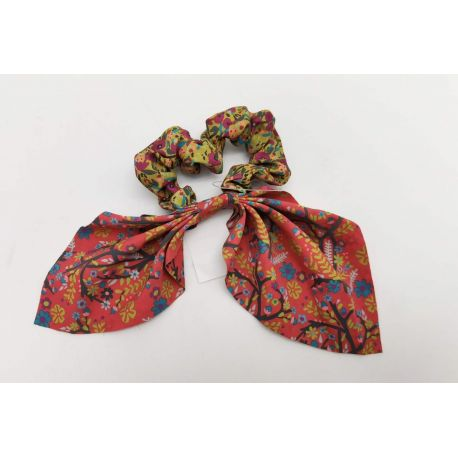 Mixed Print Tie Scrunchie Yel/Red