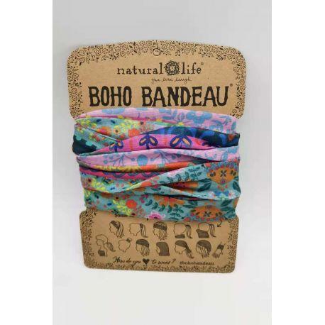Boho Bandeau Blue/Pink Borders