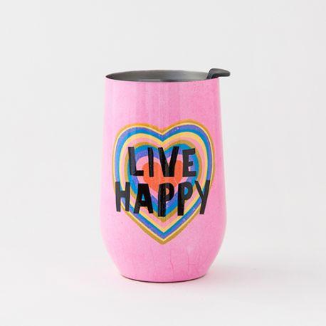 Wine Tumbler Live Happy Heart