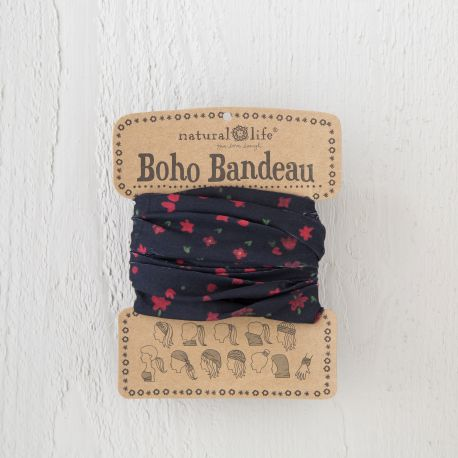 Boho Bandeau Black Red Flowers