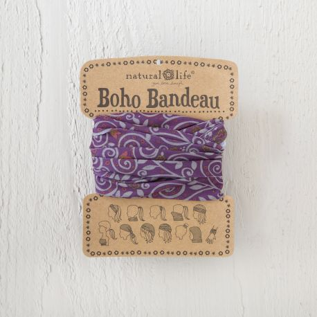 Boho Bandeau Purple Grey Scrolls