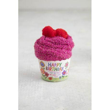 Cupcake Sock Happy Birthday Flowers