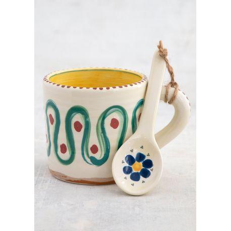 Mug and Ceramic Spoon Set