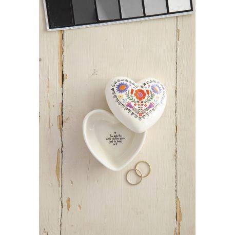 Heart Trinket Box Folk Flowers