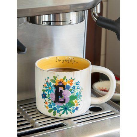 Initial Mug Floral E