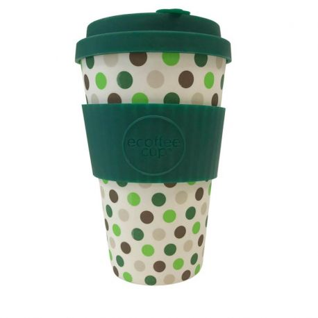 BAMBOO CUP WITH LID GREEN POLKA